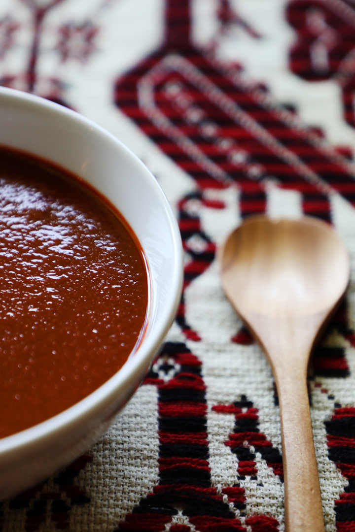 Guajillo Chile Pepper Salsa in Serving Bowl
