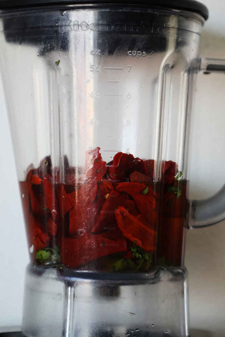 Guajillo Peppers in Blender