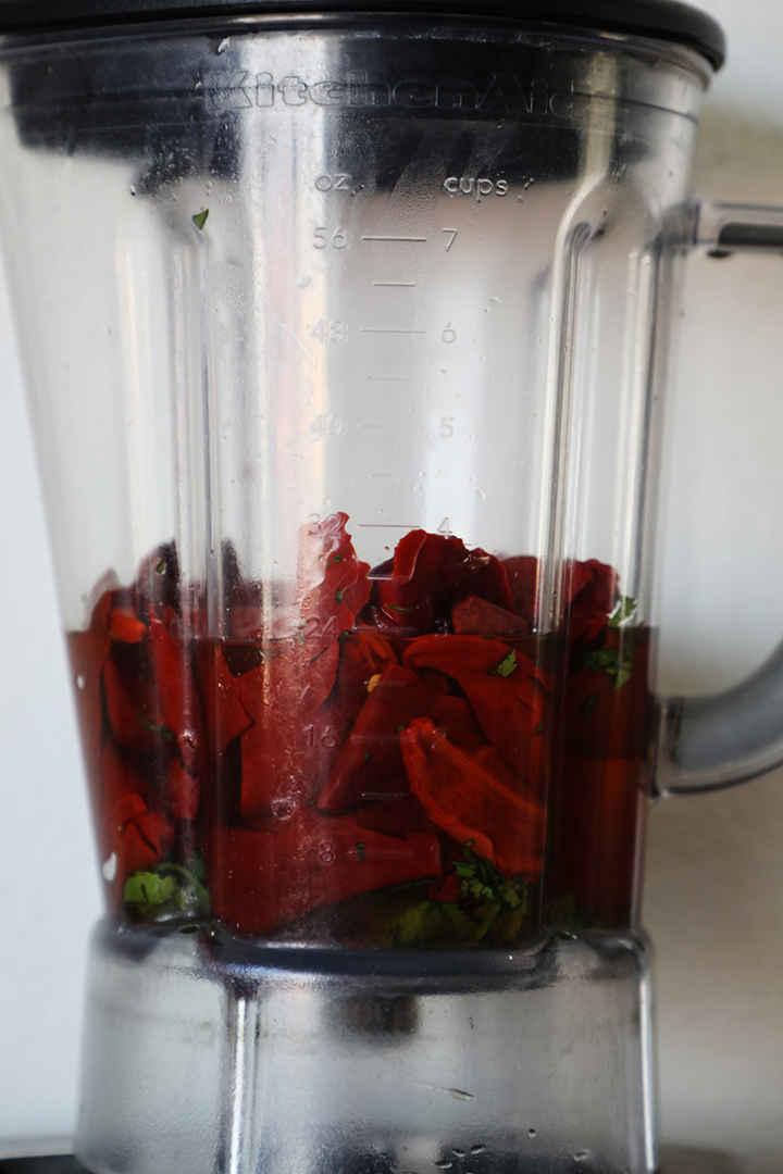 Guajillo Peppers in Blender