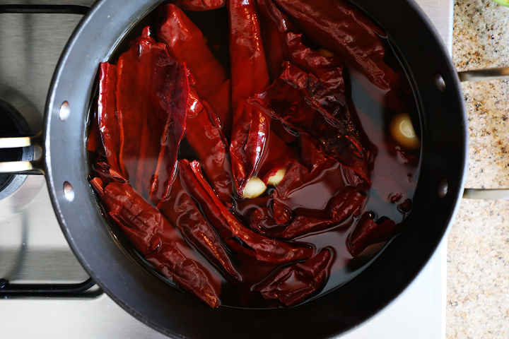 Soaked Guajillo Peppers in Pan