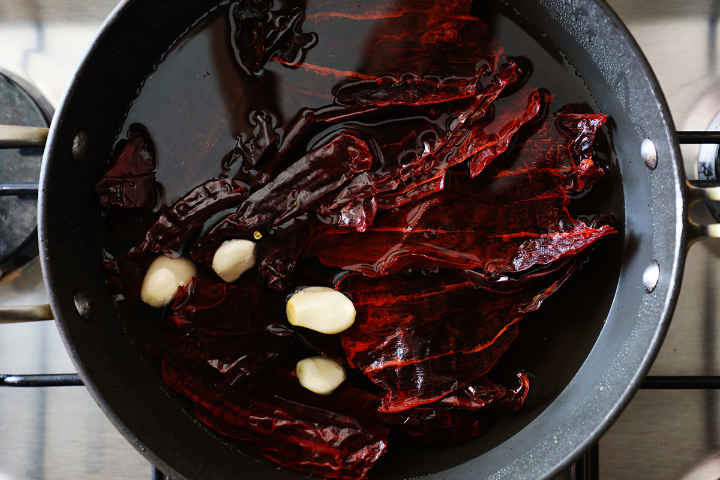 Soaking Guajillo Chiles in Pan