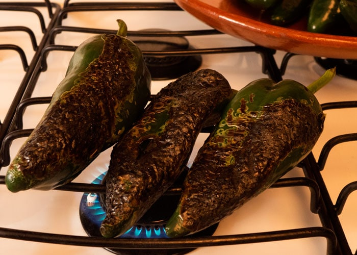 Roasting Poblano Chiles on the Stove
