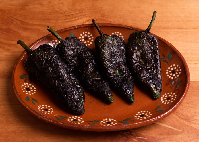 Roasted Poblano Chiles Ready to be Peeled