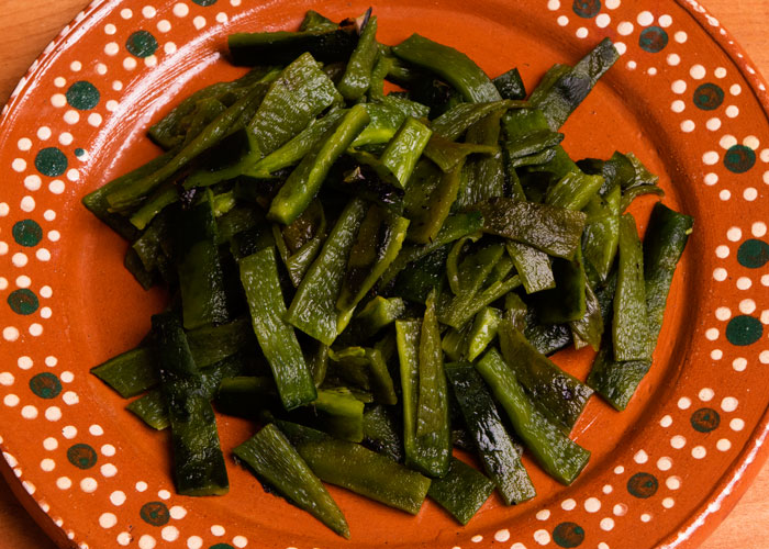 Poblano Chile Cut Into Strips