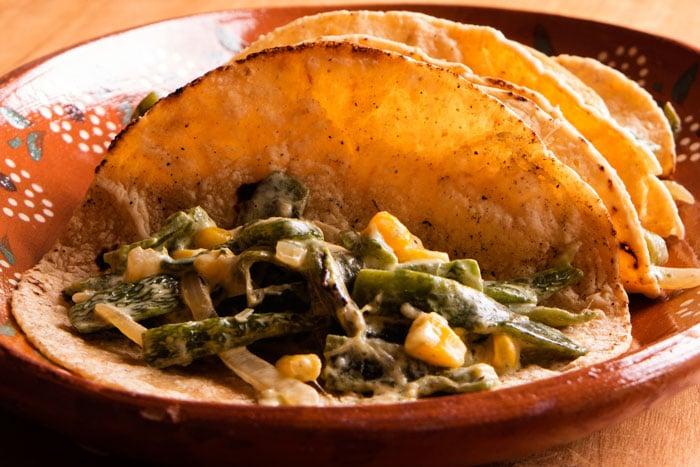 Rajas con Queso on Corn Tortillas