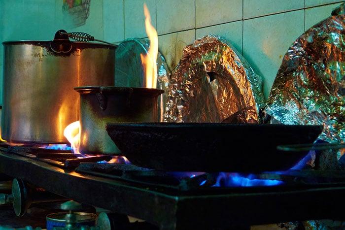 In the Kitchen at the Doña Raque Food Stall at the Mercado San Juan de Dios