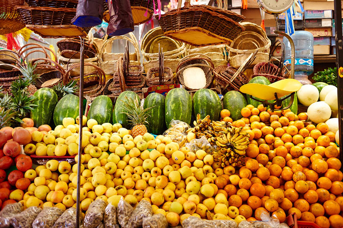 Fruits and Vegetables Displayed for Sale