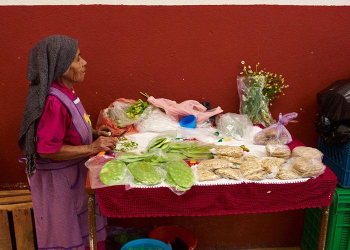 """Vendor Selling """"Nopal"""" at the Mercado San Juan de Dios"""
