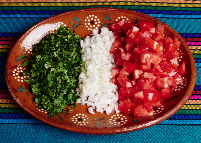 Tomatoes, Onions and Cilantro for the Salad
