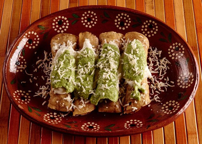 Taquitos with Avocado Salsa
