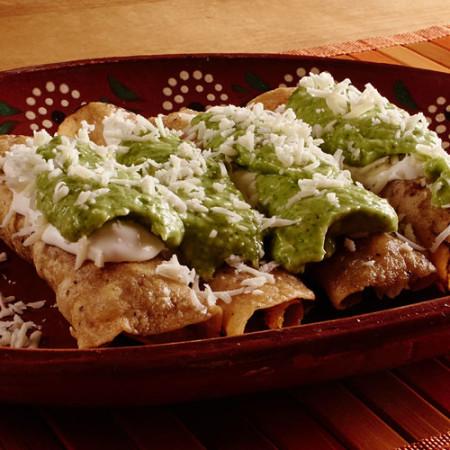 Chicken Taquitos with an Avocado Salsa