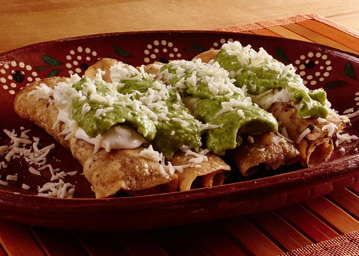 Chicken Taquitos with Avocado Salsa