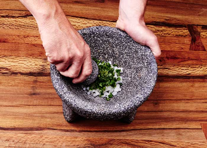 Making Guacamole in the Molcajete, Step 2