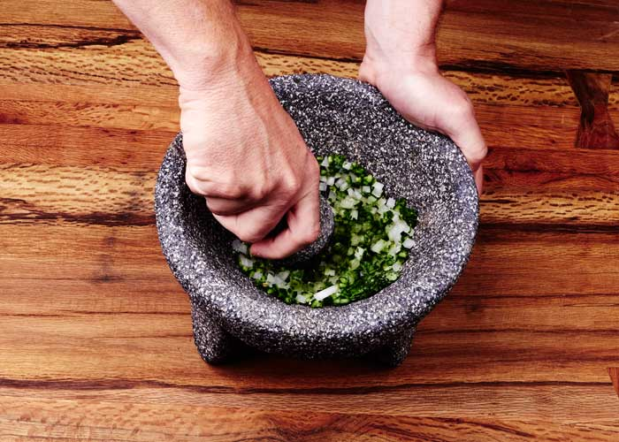 Making Guacamole in the Molcajete, Step 3
