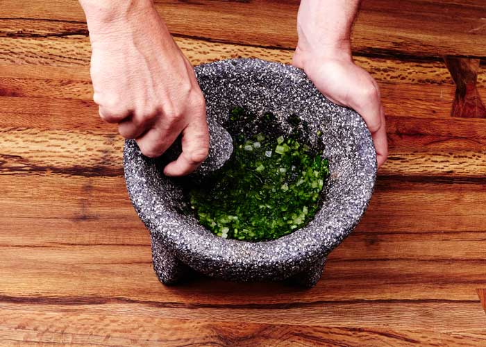 Making Guacamole in the Molcajete, Step 4