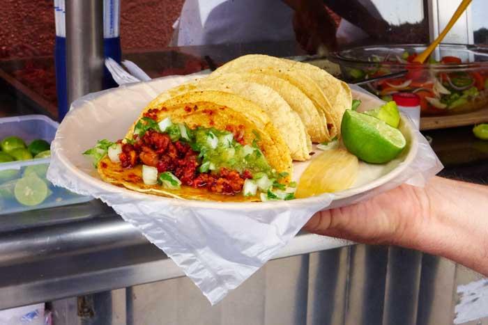 Longaniza, Costilla, Cabeza and Bistec Tacos