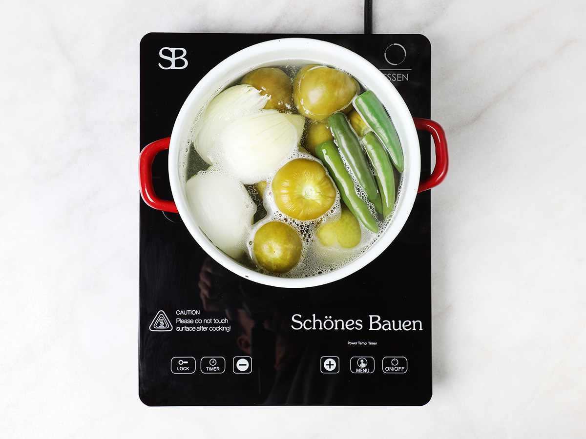 Cooked Ingredients to Make Salsa Verde in Pot