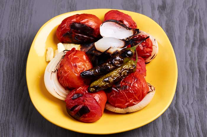 Charcoal Grilled Tomatoes, Onions and Chiles
