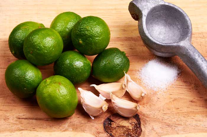 Limes, garlic and salt for marinade.