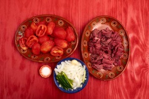Prepped Ingredients for Bistec a la Mexicana