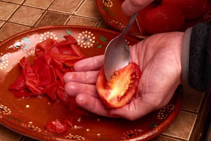 Removing Seeds from Tomatoes