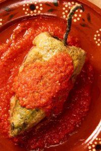 Chile Relleno in Salsa Roja