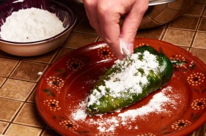 Flouring a Chile Relleno