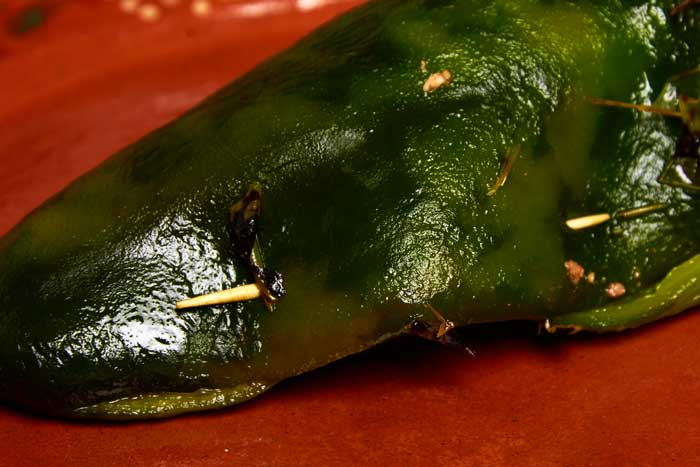 Stuffed Chile Poblano Closed with Toothpick
