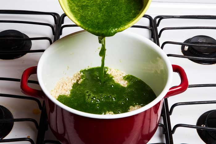 Adding Cilantro Puree to Rice