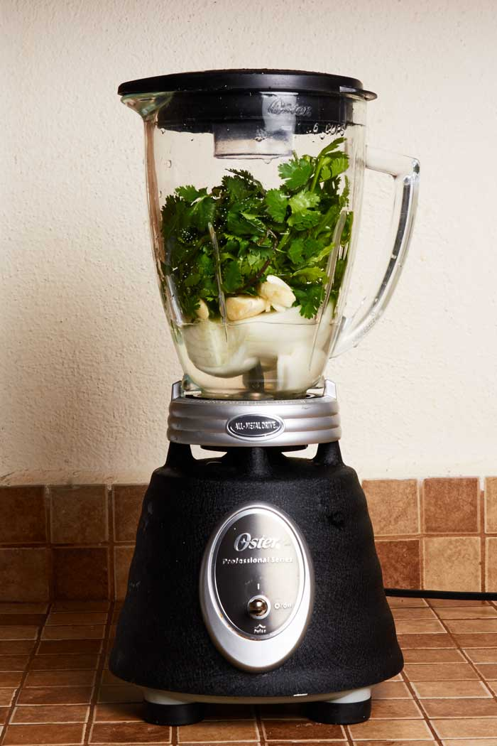 Cilantro Onion Garlic in Blender