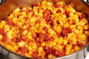 Cooking Potato Chorizo Taco Filling
