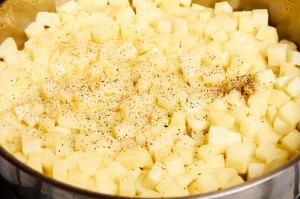 Diced Potatoes Seasoned with Salt and Pepper