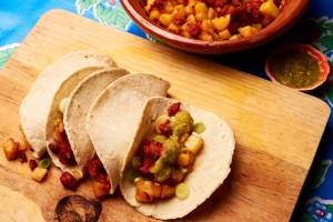 Tacos Potato Chorizo With Salsa Verde
