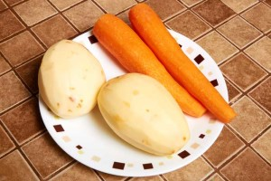 Peeled Carrots and Potatoes