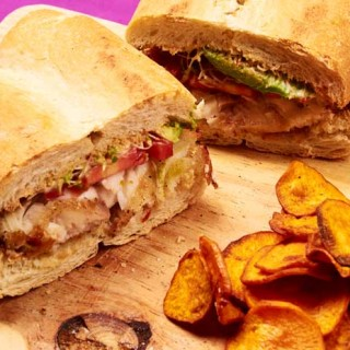 Fish Sandwich with Sweet Potato Chips