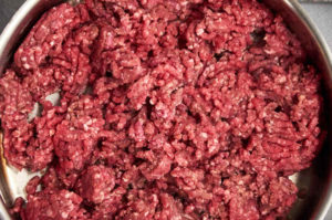 Ground Beef Browning in Frying Pan