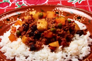 Picadillo on White Rice