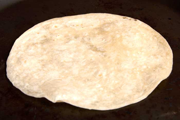 Flour Tortilla on Comal