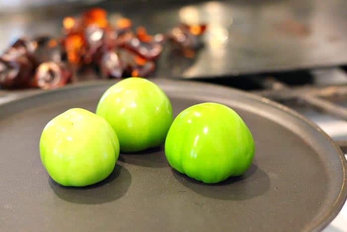 Tomatillos on Griddle