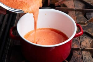 Preparing the Base for Tortilla Soup