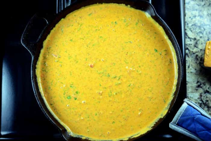 Queso con Carne in Cast Iron Pan