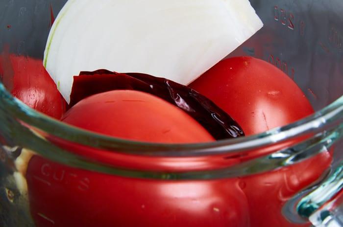 Tomato Broth Ingredients in Blender Jar
