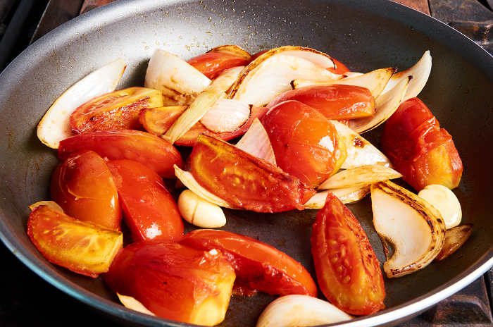 Charred Tomatoes and Onions