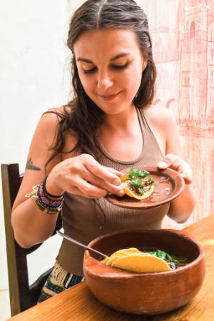 Eating Tacos Carnitas at El Destilado Oaxaca