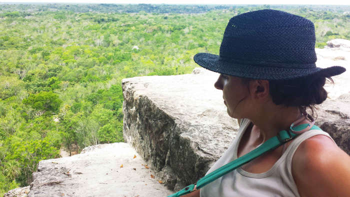 Enjoying the view on top of the tallest pyramid at Coba in the Yucatan