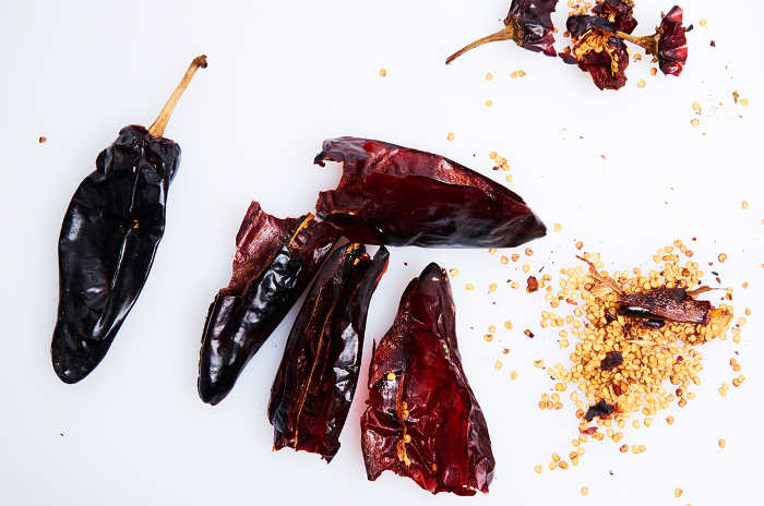 Remove Seeds and Stems from Guajillo Chiles