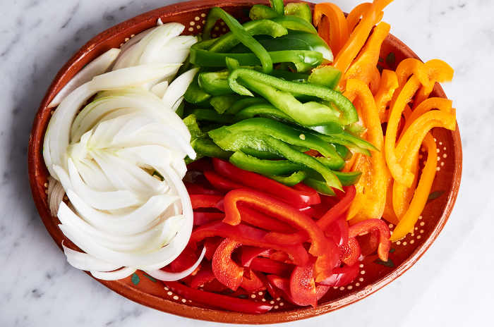 Sliced Bell Peppers and Onions