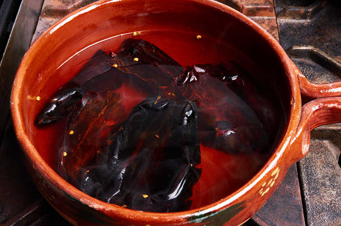 Soaking Guajillo Chiles