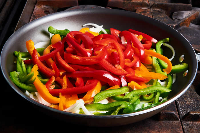 Stir Frying Bell Peppers and Onions