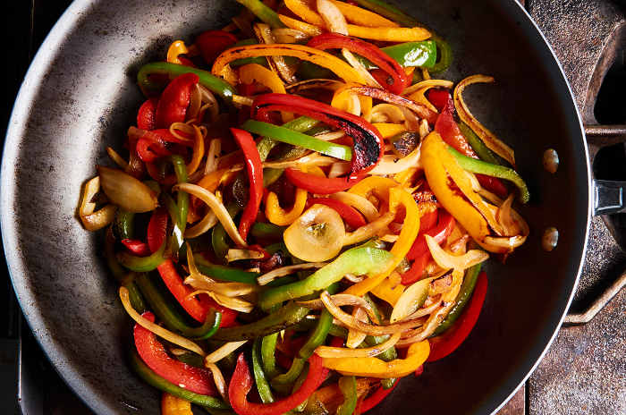 Stir Frying Bell Peppers and Onions 2